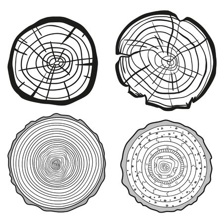 Monochrome tree rings on white. Set of cross section of the tree. Outline for polygraphy, banners, posters and other. Black and white illustration for your design