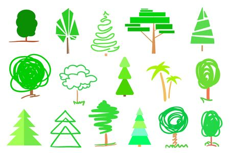 Bright green trees and christmas trees on white. Set for design. Objects of nature for polygraphy, flyers, t-shirts and banners Ilustração