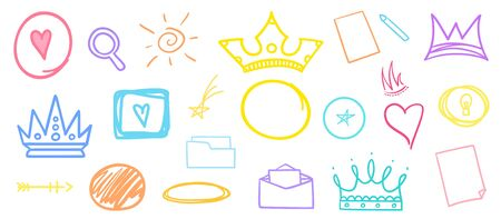 Abstract objects on isolated white background. Hand drawn different signs. Colorful illustration. Doodles for your design Banque d'images - 130483790