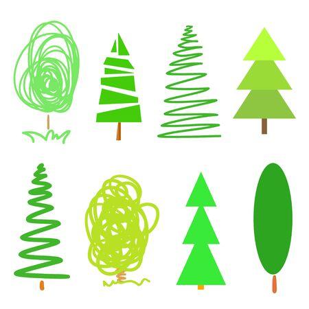 Bright green trees on white. Set for design Ilustração