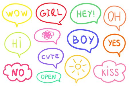 Set of different colorful speech bubbles. Hand drawn frames. Line art. Colorful illustration