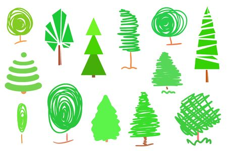 Bright trees and christmas trees on white. Set for design. Objects for your business Banco de Imagens - 130483911