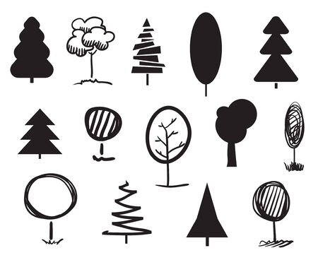 Monochrome trees on white. Set for design on isolated background. Geometric art. Objects for polygraphy, posters, t-shirts and banners. Black and white illustration Banco de Imagens - 130483912