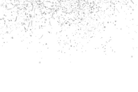 Multicolored monochrome confetti on isolated white background. Geometric holiday texture with glitters. Black and white illustration