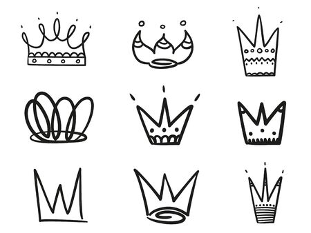 Monochrome crowns on white. Hand drawn simple objects. Line art. Black and white illustration. Sketchy elements for design