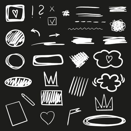 Hand drawn outline infographic elements on black. Abstract geometric signs and shapes. Black and white illustration