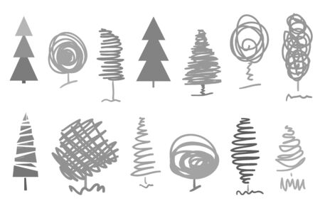 Monochrome trees and christmas trees on white. Objects of nature for polygraphy, posters, t-shirts and textiles. Black and white illustration