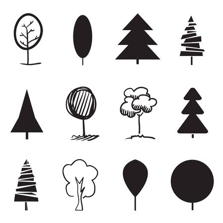 Monochrome trees on white. Set for artworks on isolated background. Geometric art. Objects for design. Black and white illustration