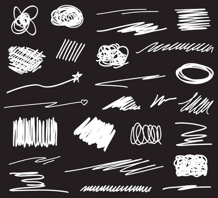 Hand drawn abstract shapes on black. Grungy hatching backgrounds with array of lines. Stroke chaotic patterns. Black and white illustration. Sketchy elements for design Иллюстрация