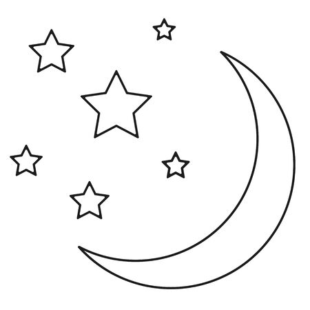 Monochrome moon with stars on white. Abstract web icon