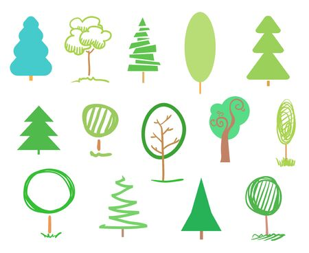 Green trees and christmas trees on white. Set for design. Objects of nature for polygraphy, flyers, t-shirts and banners Banco de Imagens - 132028651