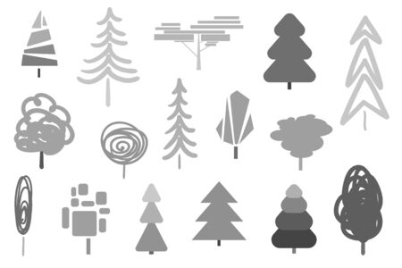 Monochrome trees and christmas trees on white. Decorative objects of nature for your design. Black and white illustration  イラスト・ベクター素材