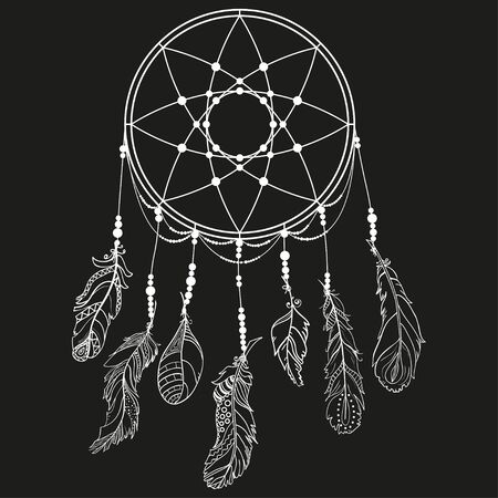 Hand drawn white dreamcatcher on black background. Feathers. Abstract mystic symbol. Design for spiritual relaxation for adults. Line art creation