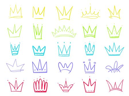 Colorful crowns on white. Hand drawn simple objects. Line art. Outline elements for your design