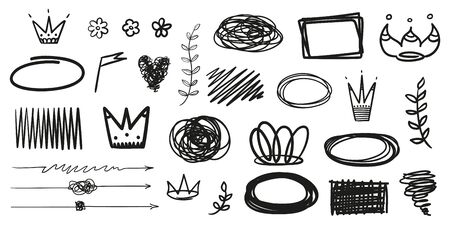 Hand drawn elements on isolated white background. Simple sketched things. Line art. Set of different shapes. Abstract symbols. Black and white illustration. Doodles for artwork