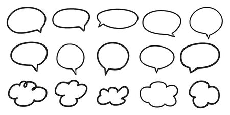 Hand drawn infographic elements on isolation background. Abstract clouds. Set of think and talk speech bubbles. Doodles on white. Black and white illustration