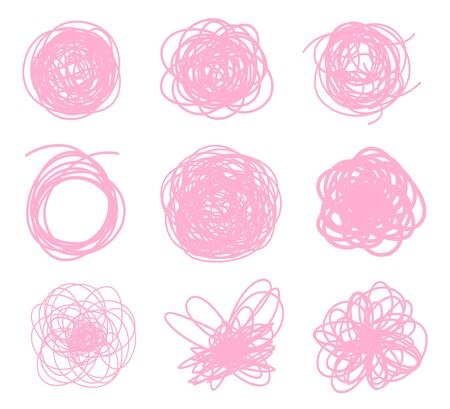 Colored sketchy shapes on white. Scribble colorful backgrounds with array of lines. Chaotic textures. Line art creation