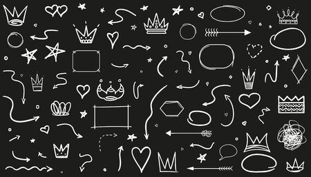 Infographic elements on isolated black background. Hand drawn wavy arrows. Line art. Set of different signs. Black and white illustration