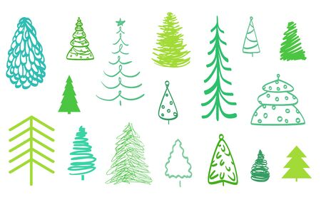 Colorful christmas trees on white. Objects for design on isolated background. Colored illustration Illustration