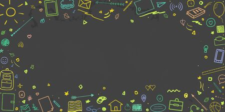 Back to school. Abstract blackboard. Background with hand drawn multicolored school supplies