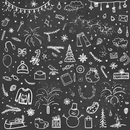 Handgezeichneter Weihnachtshintergrund. Abstrakte Tafel. Flüchtiger Hintergrund mit Feiertagselementen. Gestalten Sie für Ihr Unternehmen. Schwarz-Weiß-Abbildung