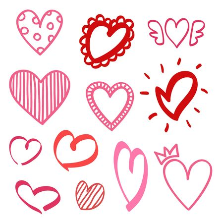 Abstract colorful hearts on isolated white background. Hand drawn set. Colored illustration