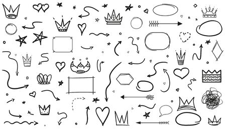 Hand drawn infographic elements on white. Line art. Set of different signs and shapes. Black and white illustration Ilustração