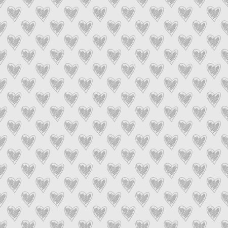 Hand drawn background with hearts. Seamless grungy wallpaper on surface. Chaotic texture. Line art. Print for banners. Black and white illustration