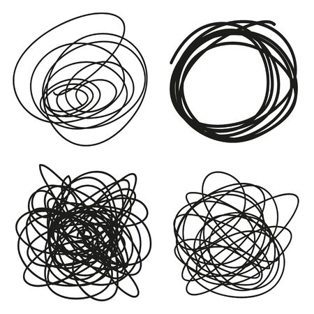Hand drawn hatching shapes on isolated white background. Wavy tangled doodles. Black and white illustration Illusztráció