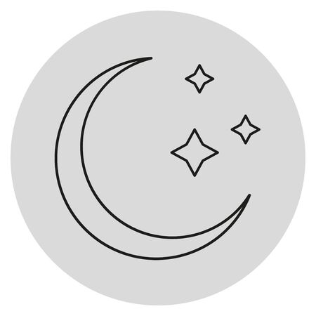 Monochrome moon with stars. Silhouette on circle shape. Abstract web icon
