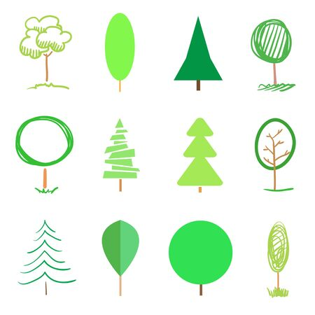 Bright green trees and christmas trees on white. Colorful set for your design. Objects of nature for polygraphy, flyers, t-shirts and banners 일러스트