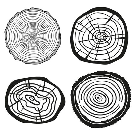 Monochrome tree rings on white. Objects for your design. Black and white illustration