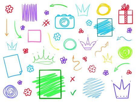 Set of multicolored outline elements isolated on white. Abstract different things. Simple signs. Sketchy symbols for work