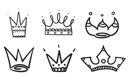 Monochrome crowns on isolated white. Hand drawn simple objects. Line art. Black and white illustration Illustration