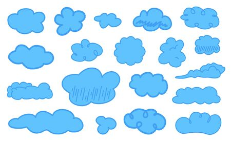 Colorful clouds on isolation background. Doodles on white. Hand drawn infographic elements. Colored illustration. Sketches for artworks