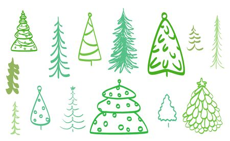 Colorful christmas trees on white. Set for design on isolated background. Colored illustration