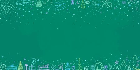 Hand drawn colorful christmas background. Abstract chalkboard. Happy New Year