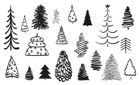Christmas trees on white. Holiday elements. Abstract christmas tree on isolated background. Black and white illustration