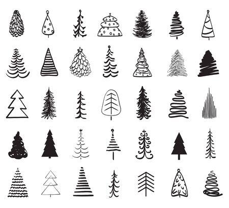 Arbres de Noël sur blanc. Illustration en noir et blanc