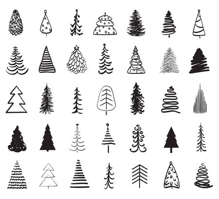 Kerstbomen op wit. Zwart-wit afbeelding
