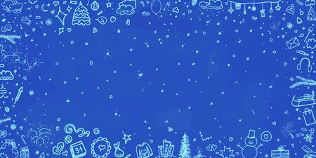 Hand drawn christmas background. Abstract sketchy background with holiday elements