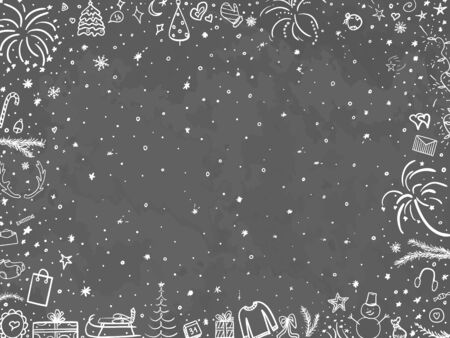 Hand drawn christmas background. Abstract chalkboard. Black and white illustration Ilustrace