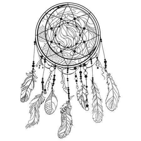 Dreamcatcher on white. Abstract mystic symbol. Design for spiritual relaxation for adults. Black and white illustration