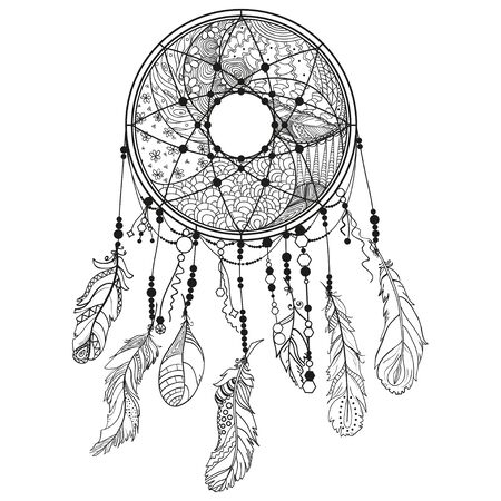 Dreamcatcher on white. Abstract mystic symbol. Design for spiritual relaxation for adults. Black and white illustration for colouring
