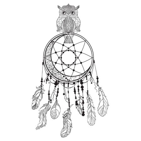Dreamcatcher on white. Abstract owl sitting on dreamcatcher. Design for spiritual relaxation for adults. Black and white illustration for colouring
