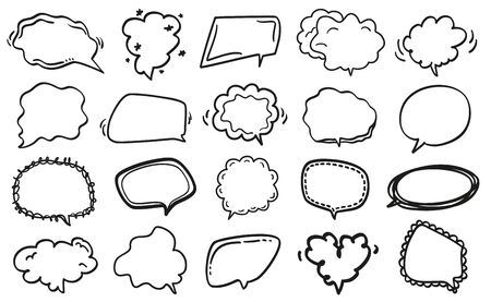 Set of hand drawn speech bubbles. Abstract speech bubble on white. Black and white illustration