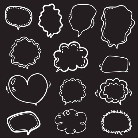 Speech bubble on isolation background. Set of think and talk speech bubbles. Black and white illustration