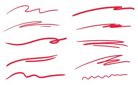 Hand drawn underlines on white. Wavy lines. Colorful illustration. Sketchy elements