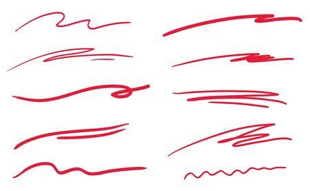 Sottolineature disegnate a mano su bianco. Linee ondulate. Illustrazione colorata. Elementi abbozzati
