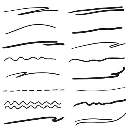 Subrayos dibujados a mano en blanco. Ilustración en blanco y negro. Elementos incompletos para el diseño
